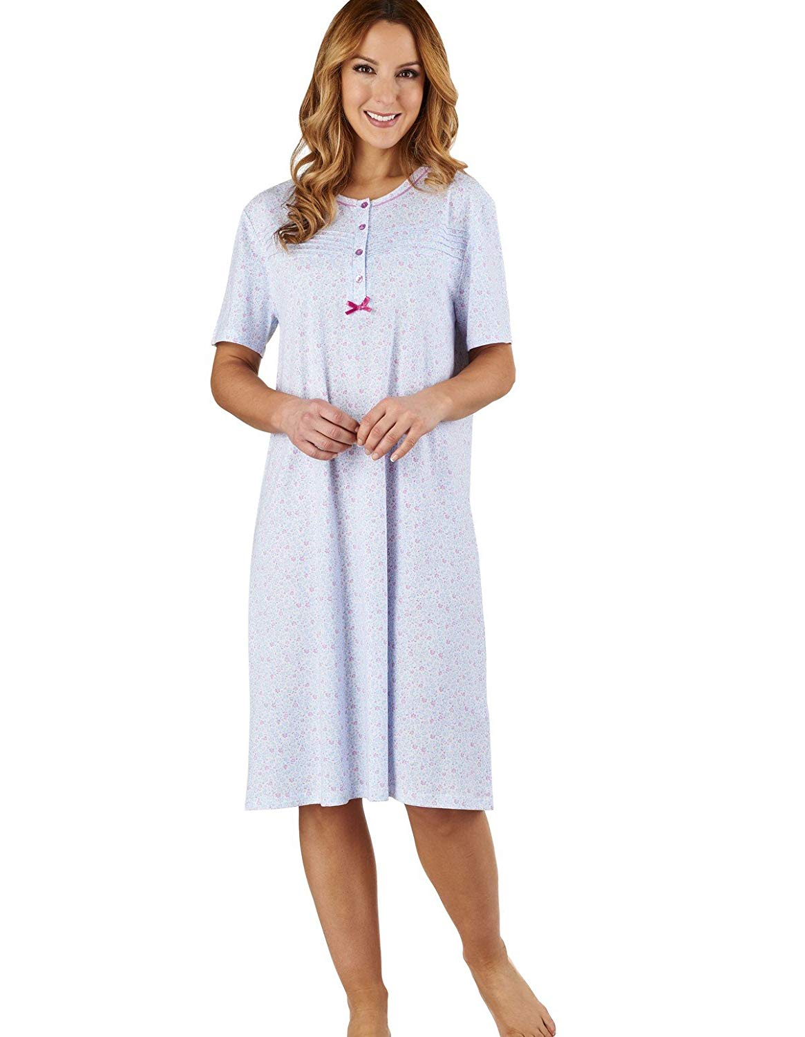 Get Quotations · Slenderella ND1101 Women s Ditsy Floral Blue 100% Cotton  Jersey Nightdress 6bb22b9c3