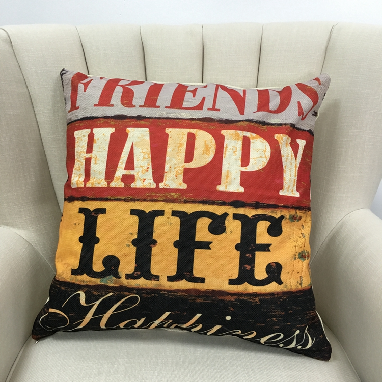 Wholesale 100% Polyester word print soft stock cushion pillow
