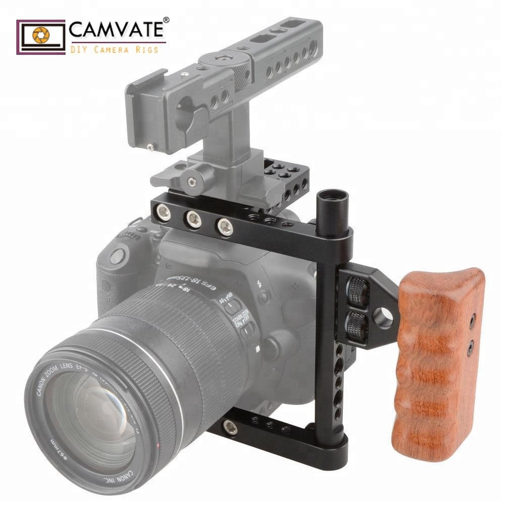 CAMVATE TOP Handle Wood Grip DSLR Camera Cage Rig
