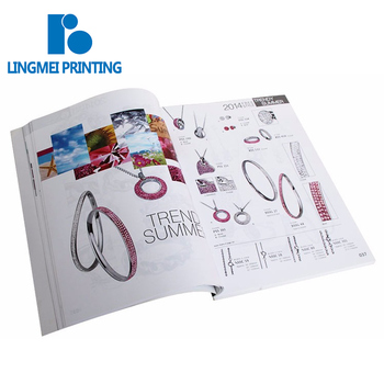 Low Cost Softcover A4 Size Offset Printing Custom 120 page premier jewelry catalog