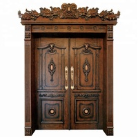 Prettywood Arabic Style Carving Solid Wooden Main Double Antique Door Designs