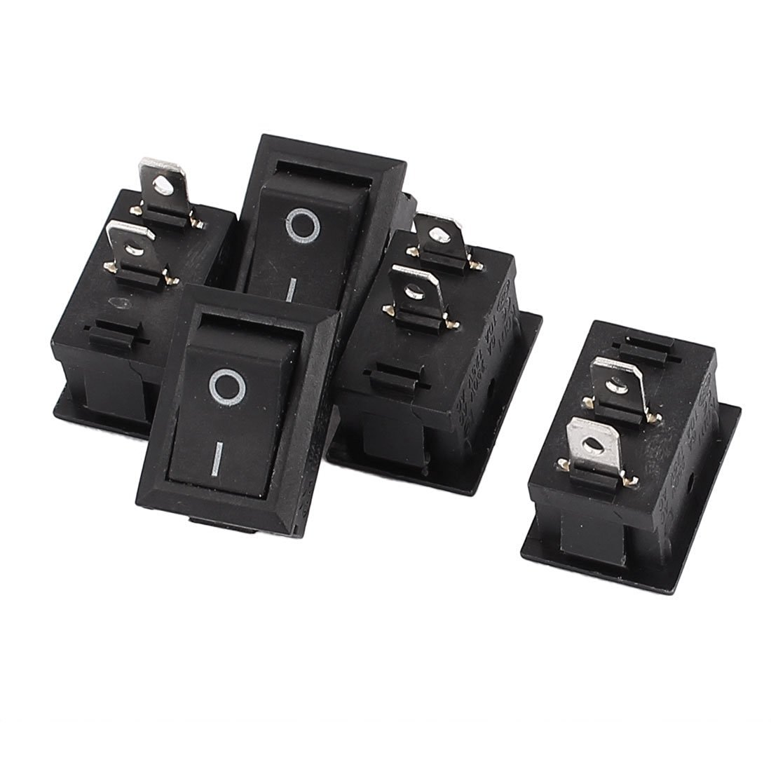 uxcell AC 6A/250V 10A/125V ON-OFF I/O SPST Boat Rocker Switch Black 5 Pcs