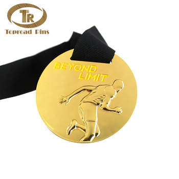 Custom logo free artwork gold metal award medal round 3d run medal
