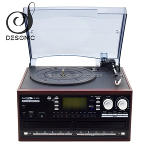 Retro usb vinyl turntable record player with double cd radio cassette player for sale