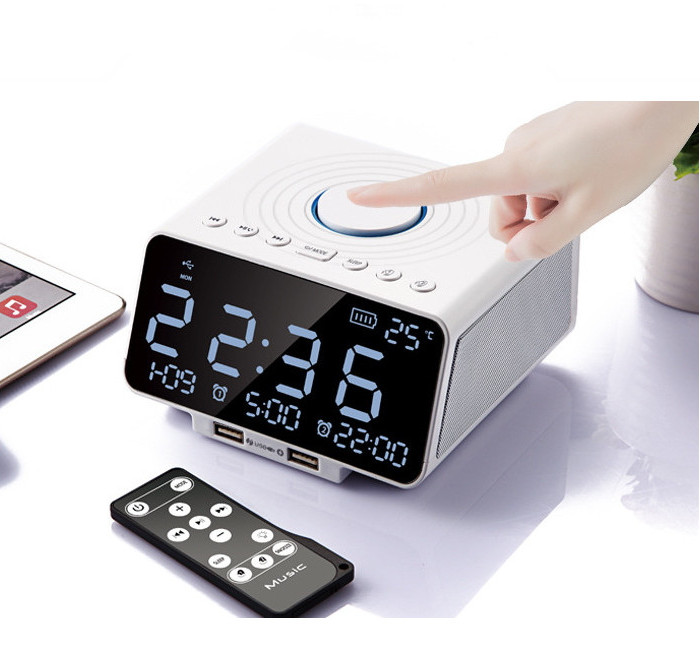 Multifunction Alarm Clock Snooze Luminous Blue tooth Music Speaker With Double USB