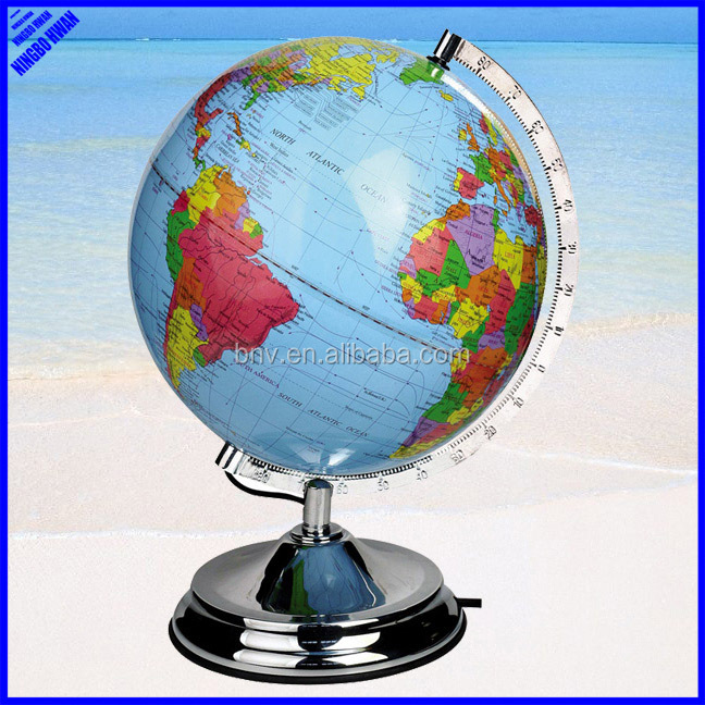 Quality educational 250mm plastic rotating world globe with light