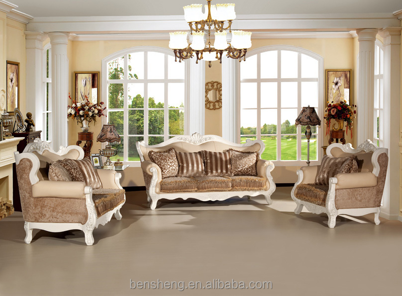 S2130 Foshan Shunde Sofa Furniture Hand Carving Rubber Wood Frame America Style White Painting Antique Fabric