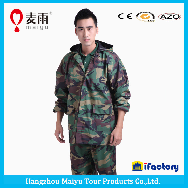adult waterproof windproof camo camouflage military poncho raincoat rainwear rain jacket