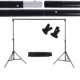 2 * 3m / 6.6 * 9.8ft Adjustable Background Support Stand Photo Backdrop Crossbar Kit with two Clamps Photography Accessories Set