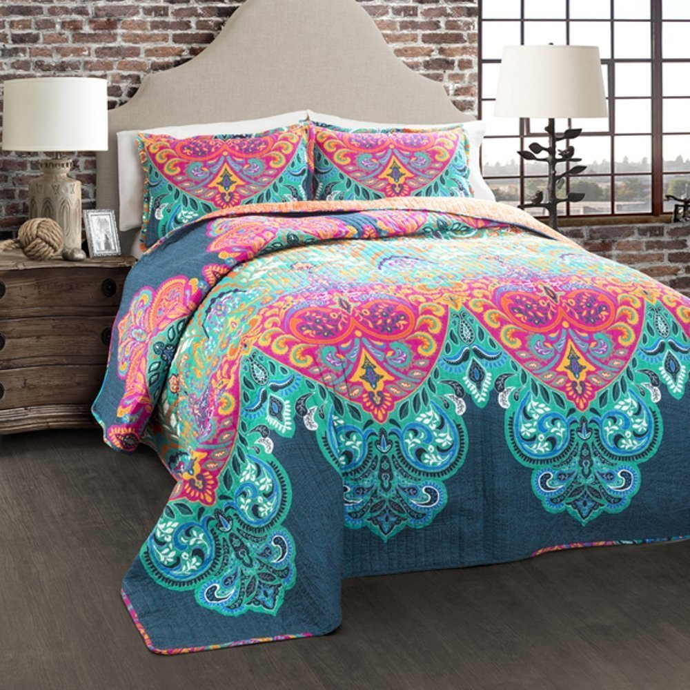 3pc Girls Rainbow Bohemian Quilt Full Queen Set, Colorful Hippie Medallion Flower Motif Aztec Southwest Indian Themed Pattern Navy Teal Blue Pink Orange, Boho Chic Floral Bedding