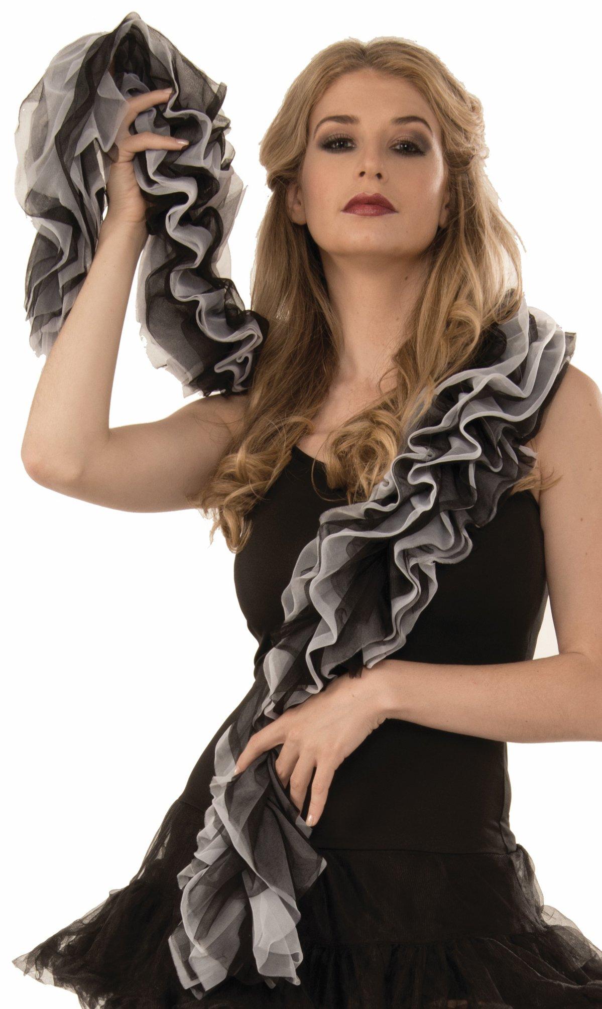 Forum Novelties Glamorous 1920s Flapper Black and White Chiffon Feather Boa Costume a Accessory, Multicolor
