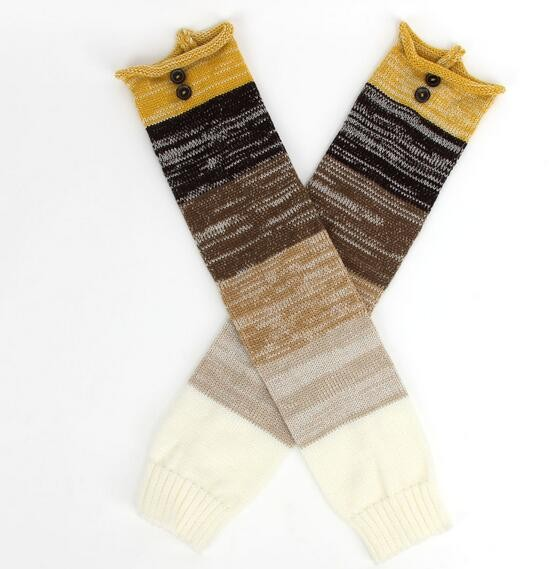 Knit Womens Leg Warmers Rodilla Alta Calcetines Accesorios De ...