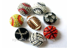 Be in stock Rhinestone Sport Ball Slide Charm for 8mm wristband for craftin