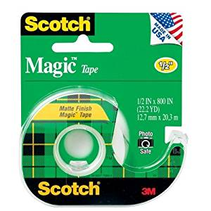 "Wholesale CASE of 25 - 3M Scotch Magic Transparent Tape w/Dispenser-Magic Tape With Dispenser, 1/2"" x 800"", Clear"