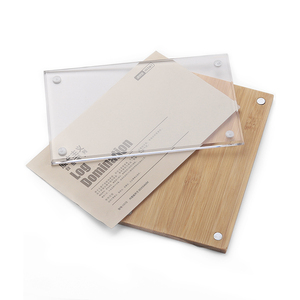 Free Samples Clear Wood Base Acrylic Sign Holder Price Tag Holders Magnetic Frame Wall Tabletop Display Racks