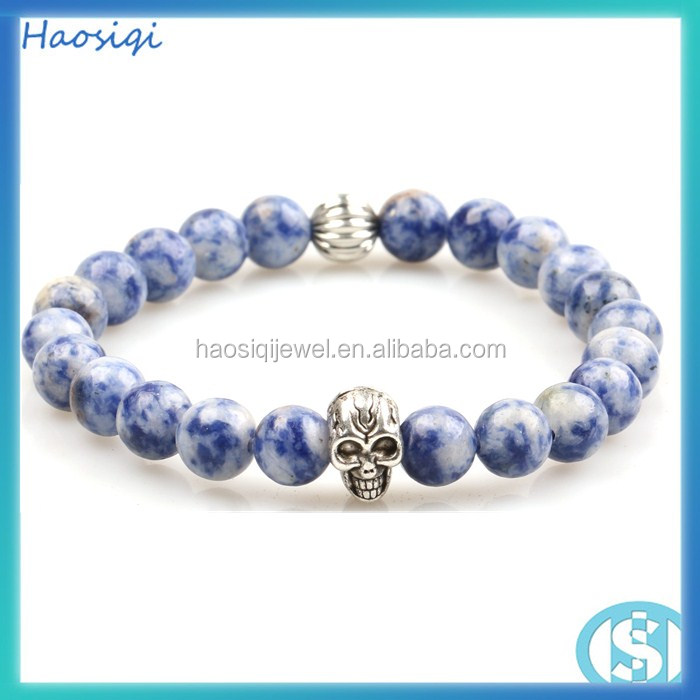 2016 hot jewelry new gold chain design men blue bead mens skull bracelet