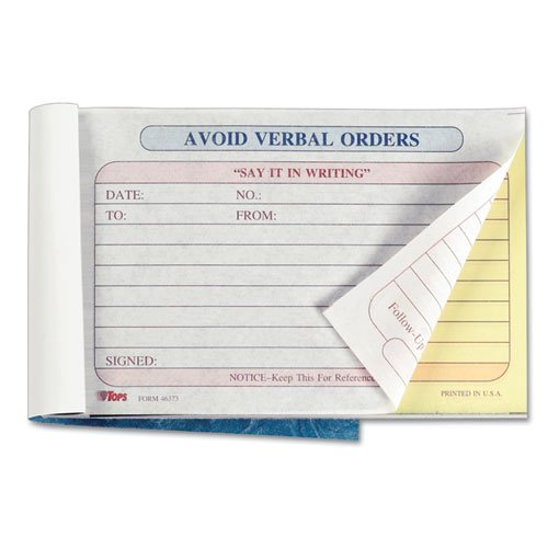 TOPS Avoid Verbal Orders Manifold Book, 6 1/4 x 4 1/4, Two-Part Carbonless, 50 Sets/Book