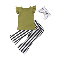High Quality Summer 3Pcs Solid Color Top Matching Ruffle Bell Bottom Pant Clothes Outfits For Girls