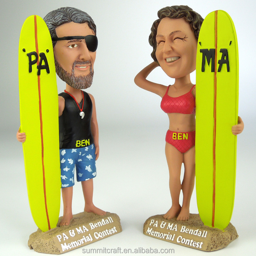 Custom hars surfplank figurine funny bobble head