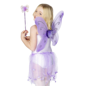 Purple color Decoration butterfly fairy wing ang fairy wand kit for kids party costume