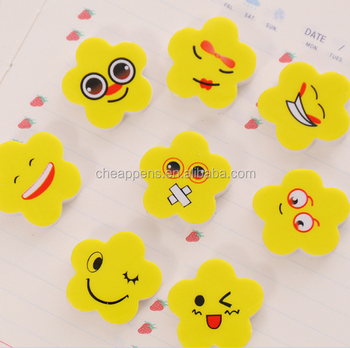wholesale cheap cute yellow flower expression eraser gift rubber eraser