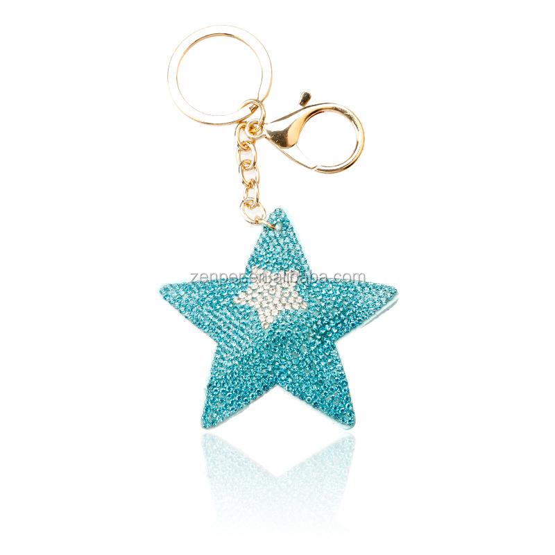 Promotion cadeau strass en forme d'étoile tissu brillant porte-clés avec logo