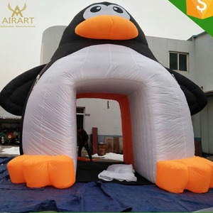 Giant Penguin channel for decoration inflatable penguin tunnel
