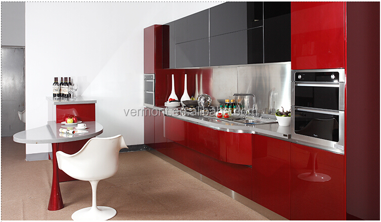 Red Kitchen Cabinets Glass Doors High Gloss Lacquer Kitchen Cabinet  Tempered Glass Kitchen Cabinets