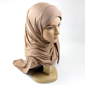 New style sequined jersey cotton amira hijab of muslim women Head scarf china wholesale custom girls hijab