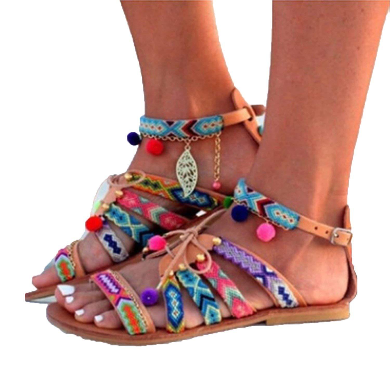 d399044d7ed48 Get Quotations · Women Sandals 2018 Beach Summer Flat Plus Size Fashion Gladiator  Boho Woman Comfortable Footwear