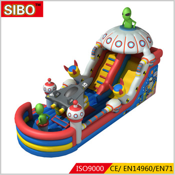 Special design PVC material air saucerman slide outdoor inflatable slide bouncer
