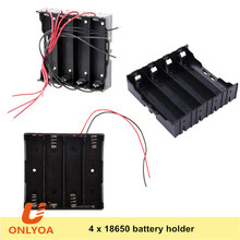 Plastic 4 cell li-ion 18650 3.7V lipo battery holder with wire leads / PC pins