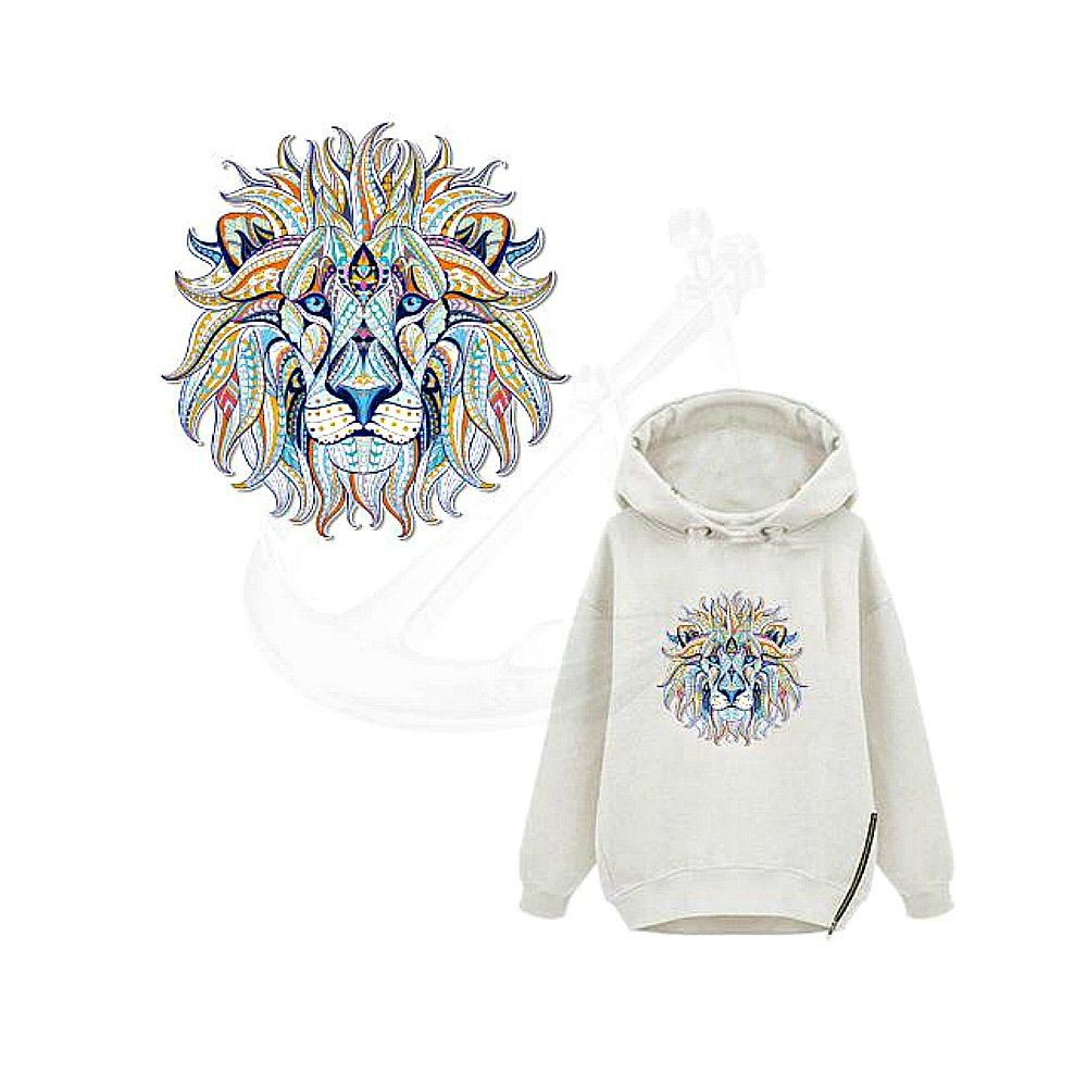 Cool Lion Iron On Heat Transfer Patch - Boho Clothing Patches - Iron on Patches for Jeans- Iron on Fabric Jeans Patches- Iron on Appliques