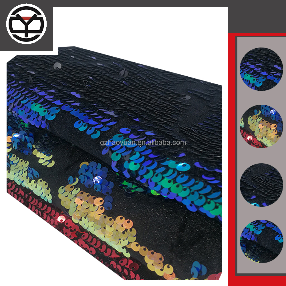 wholesale dubai dress fabric multi color mermaid rainbow peacock reversible sequin fabric for dress fabric women