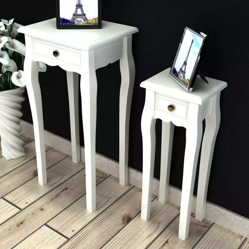 "Nesting Side Table Set 2 Pieces with Drawer White Nesting Tables Nesting Table Large table size: 1' 2"" x 1' 2"" x 2' 7"" (L x W x H)"