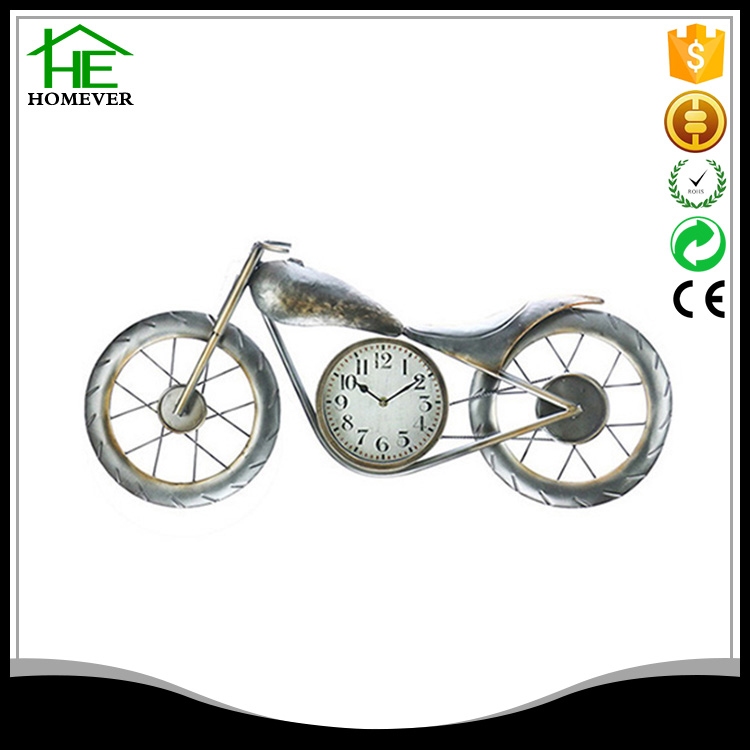 wholesale motorcycle wrought iron antique metal wall clock