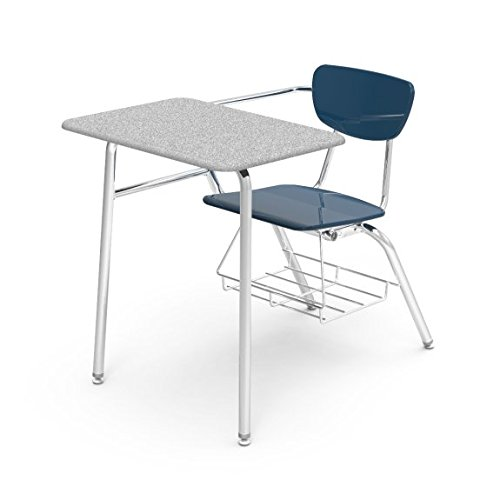 Virco Student Chair Desk with Bookrack, 18 x 24 inch Desk Top, 5th Grade to Adult, Navy Blue Chair with Gray Desk Top, Pack of 2 (3400BRM-BLU51-GRY91)