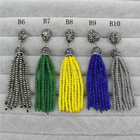 CH-ZAP0059 pave crystal tassel charm wholesale for jewelry making,fashion turkish tassel,handmade beaded tassel