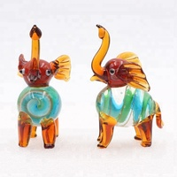 Large African Miniature Crafts Murano Blown Glass Animal Elephant Figurine