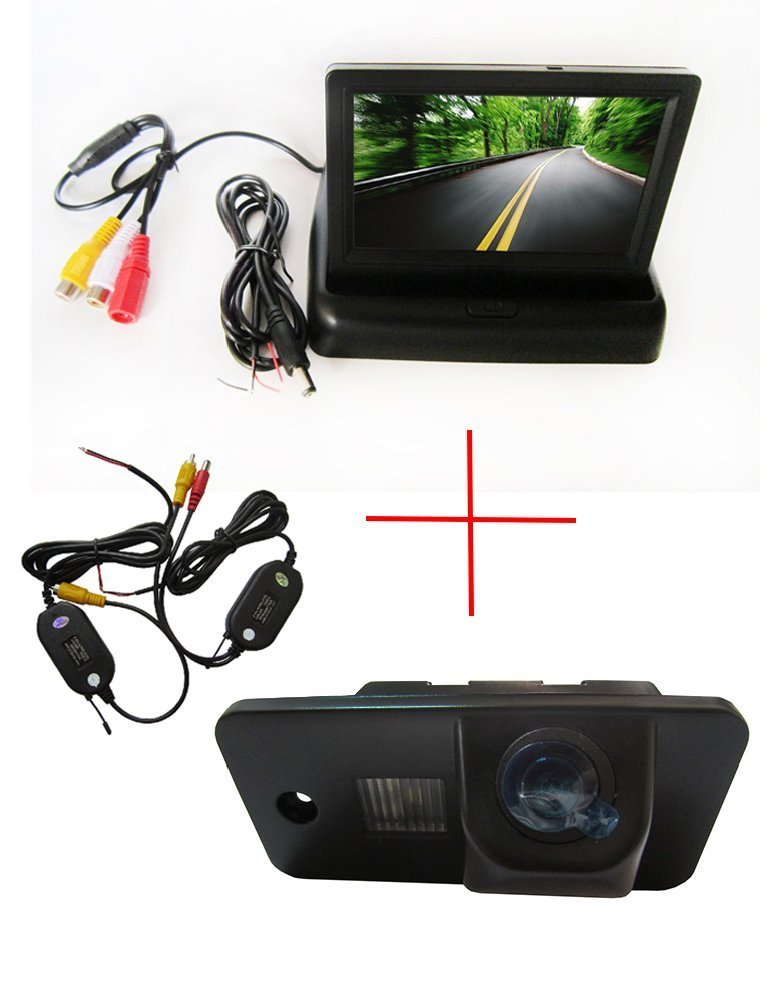 Wireless CCD Auto Vehicle HD Color Car Reverse Rear View Parking Back Up Camera for AUDI A3 S3 A4 S4 A6 A6L S6 A8 S8 RS4 RS6 Q7,with Foldable 4.3 Inch Color LCD TFT Rearview Monitor Screen Car Backup Monitor