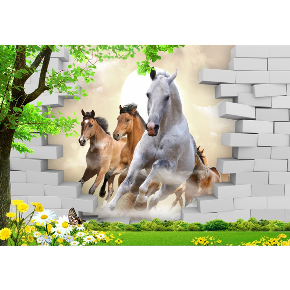 Running Horse With Brick Wallpaper Murals 3d For Home Decoration Buy Wallpaper