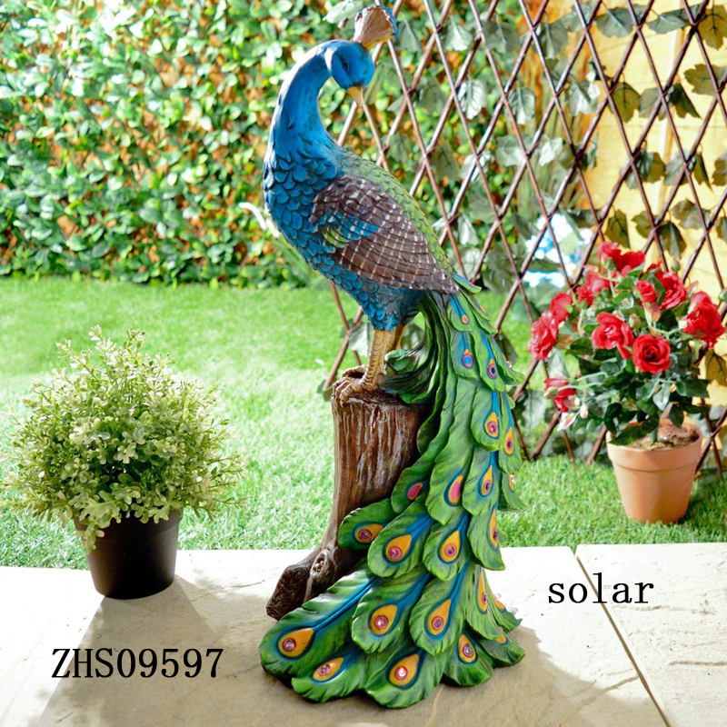 Brand New Peacock Wall Plaque Solar Powered