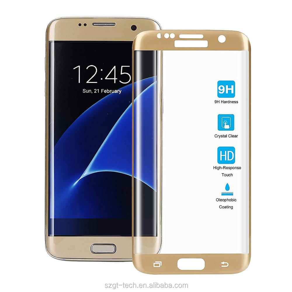 Anti Shock Screen Protector For Samsung Galaxy S7 Edge S8 9H Hardness 3D curved color tempered glass