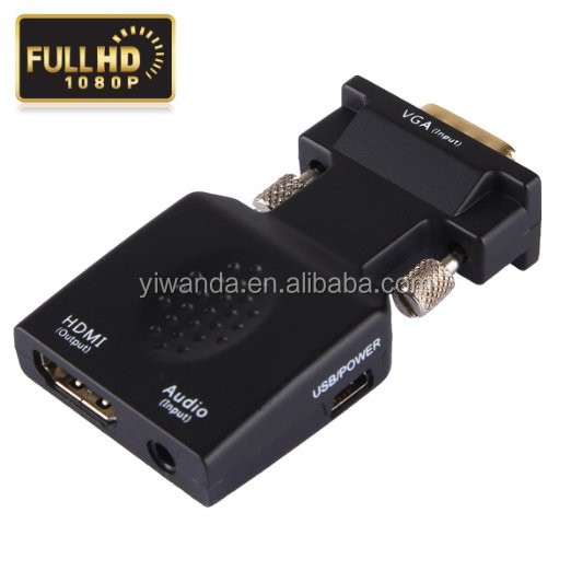 VGA Male to HDMI Female 1080P VGA to HDMI Converter Adapter with Audio Port VGA Extension Cable Mini USB Power Cable 3.5mm Audio