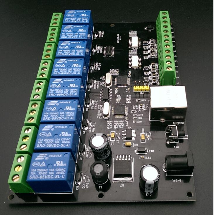 8 channel 10A network relay IP/ Ethernet access controller TCP MODBUS 8 in 8 out of the switch transmission