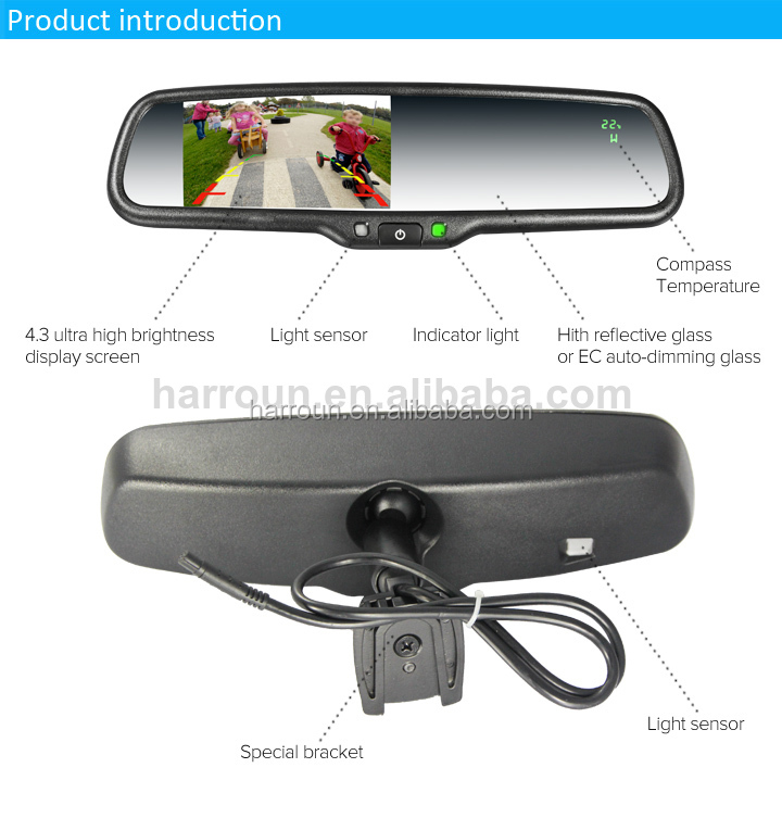 car mirror with tft lcd monitor thermometer autodimming parking sensor rearview mirror for. Black Bedroom Furniture Sets. Home Design Ideas