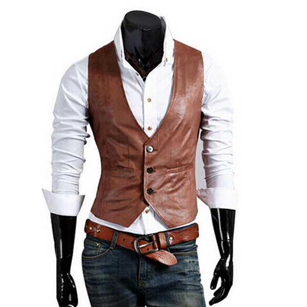 Leather Vest Men Winter Autumn 2015 New Arrival Sleeveless Fashion Slim Brown Waistcoat Vests Jacket Colete Masculino RHY482
