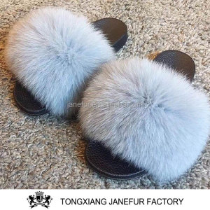 Soft luxury genuine fur women slippers real fox fur sandals home slipper