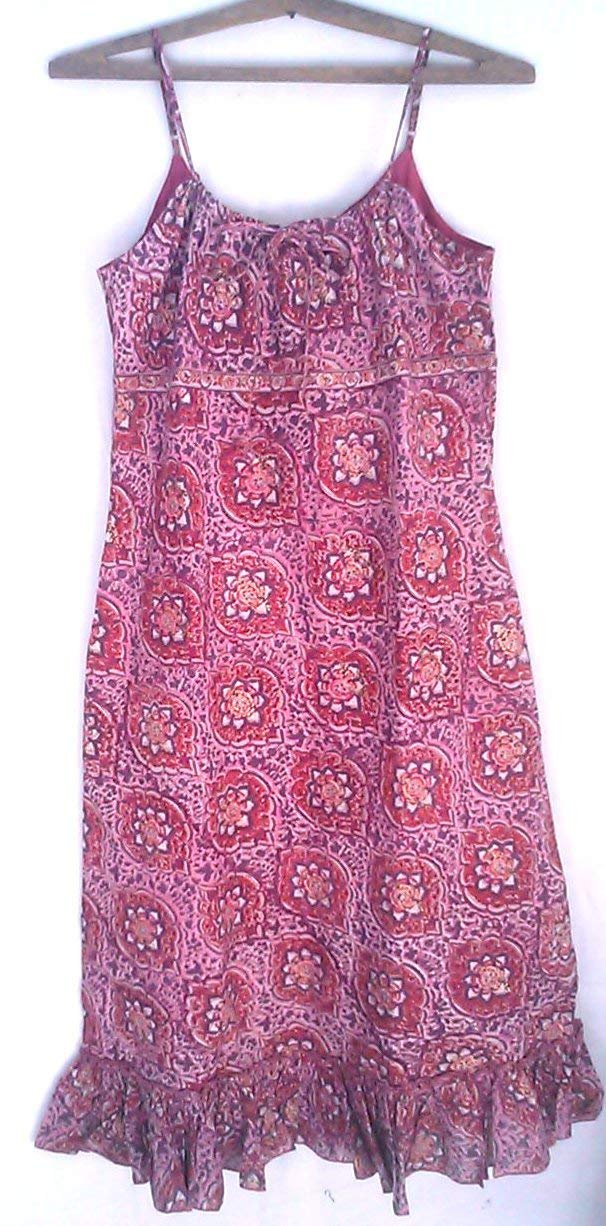 49af03f9996 Get Quotations · Pink Bukhara Jali style Anokhi Hand block print Indian cotton  Boho chic Sundress