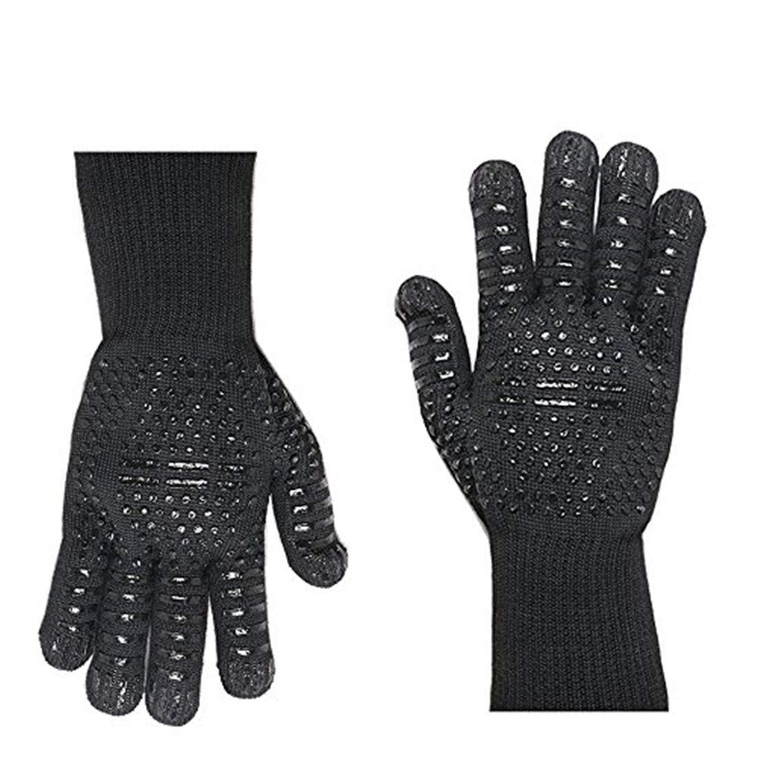 MIFXIN BBQ Gloves Grill Gloves 932°F Heat Resistant Silicone Grilling Gloves Protective Oven Gloves Fingers Oven Mitts Baking Cooking Outdoor